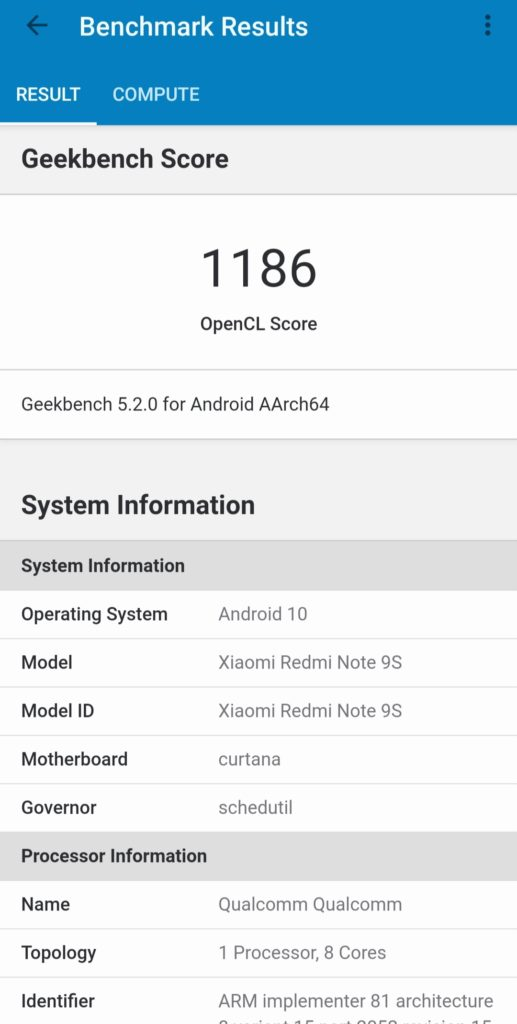 Redmi Note 9S Geekbench 5