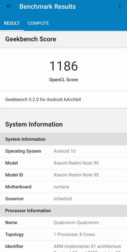 Redmi Note 9S Geekbench 5