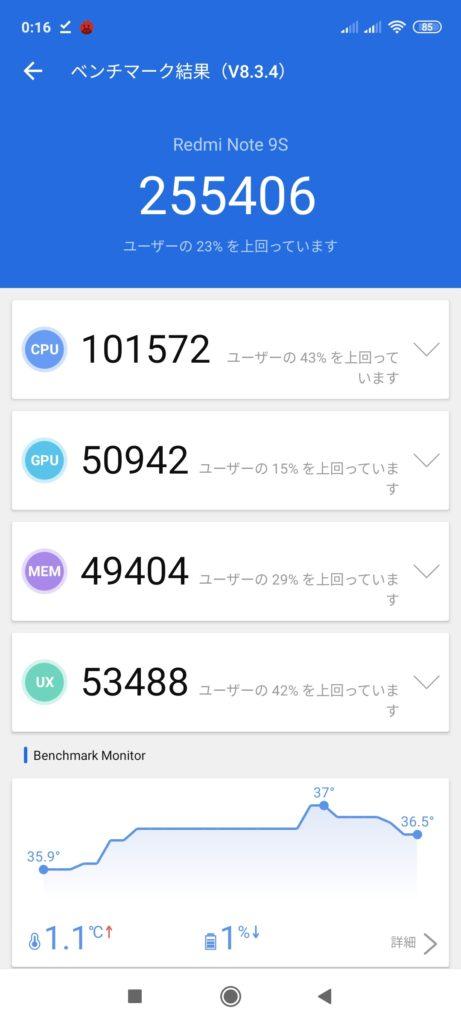 Xiaomi Redmi Note 9S Antutu Benchmark