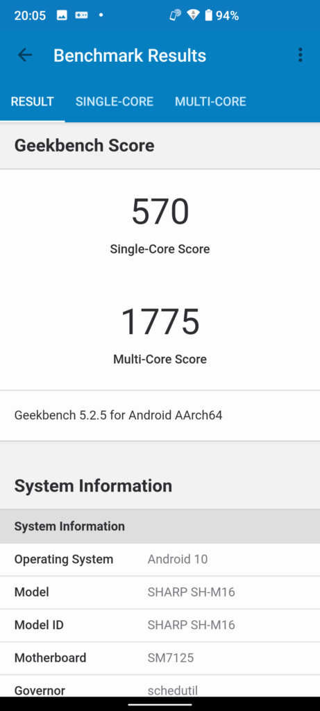 AQUOS sense4 plus Geekbench 5